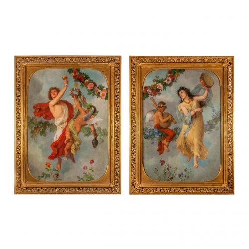 A large pair of Allegorical paintings by G. Cornicelius