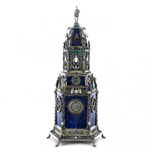 A fine Viennese silver, enamel and lapis lazuli table clock by H. Ratzersdorfer