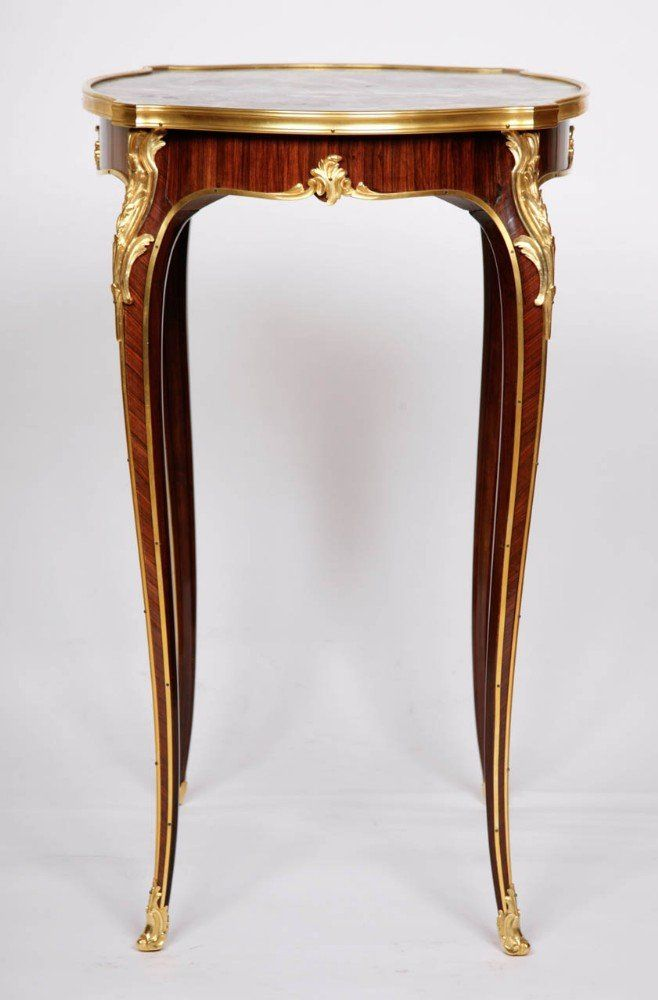 Ormolu Mounted Side Table With Marble Top By Deveraux