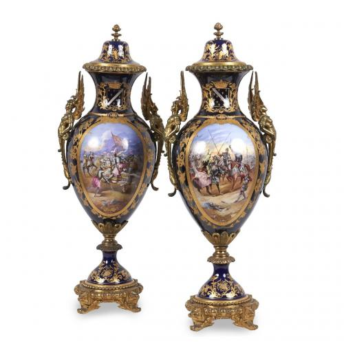 A fine pair of ormolu mounted Sèvres style porcelain vases