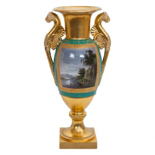 A fine and important gilt ground Gardner Porcelain Factory vase