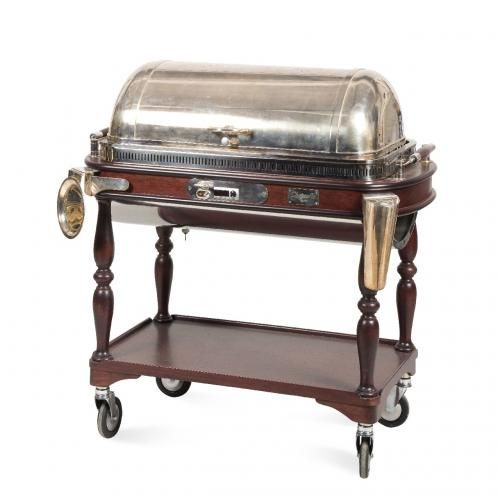 A stained wood and silver plated buffet trolley by Maison Christofle, Paris