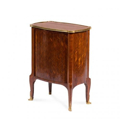 An unusual ormolu mounted parquetry writing cabinet by F. Linke