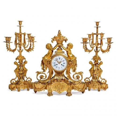 A large Napoleon III period ormolu three piece clock set