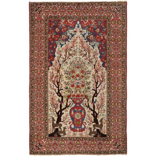 A woven wool Isfahan carpet