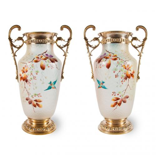 A pair of Louis XVI style gilded brass and enamelled glass vases, by WMF