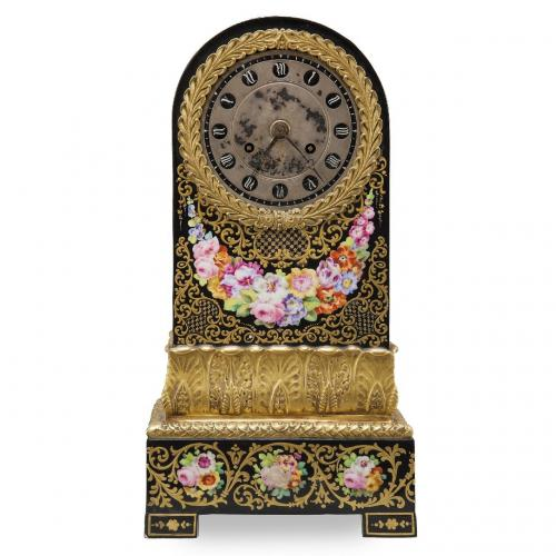 A Charles X period ormolu mounted Jacob Petit porcelain mantel clock