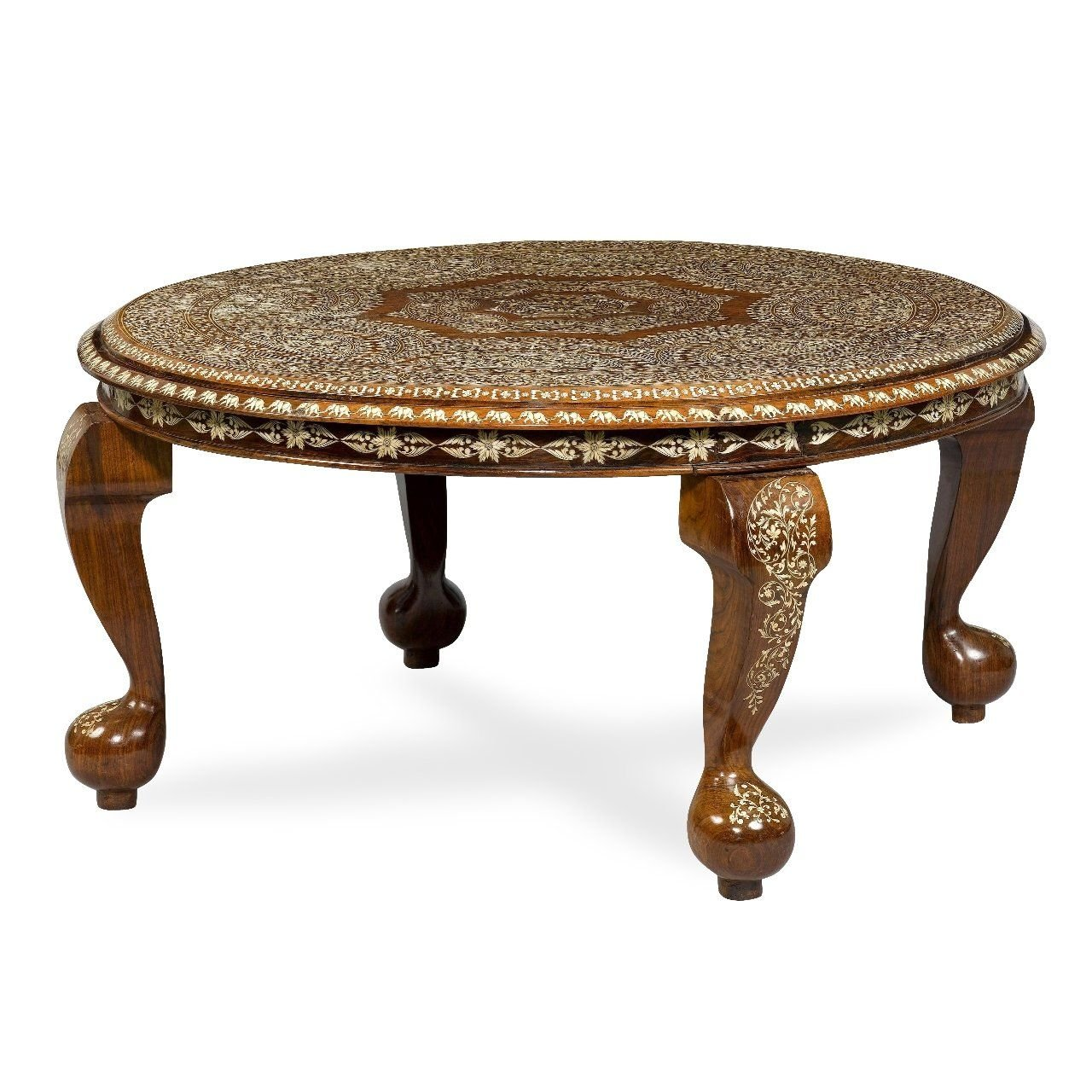 Ivory Inlaid Indian Antique Circular Coffee Table