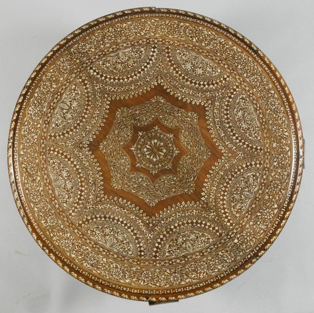 A Fine And Large Ivory Inlaid Circular Coffee Table Detail 3