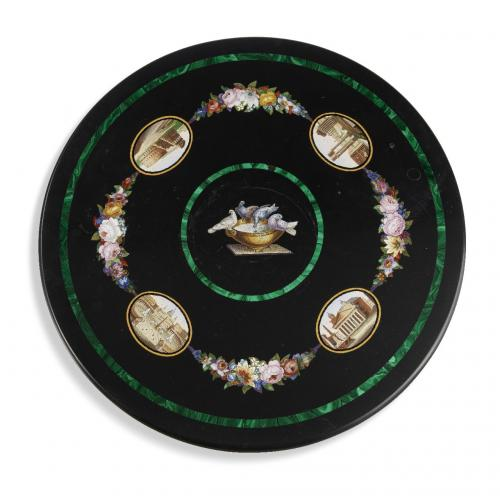 A micromosaic and inlaid malachite black marble table top