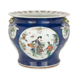 Chinese 19th Century painted porcelain jardiniere