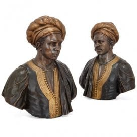 Pair of Orientalist style metal busts of male figures