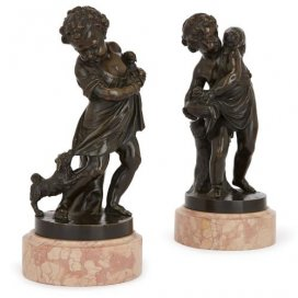 Pair of 19th Century Neoclassical style bronze figures