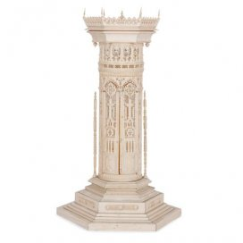 19th Century Gothic revival carved ivory model tower
