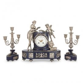 Silvered bronze and lapis lazuli antique French clock set