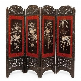 Mother-of-pearl mounted and lacquered wood Chinese screen