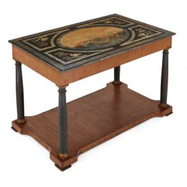 Antique Italian walnut coffee table with scagliola top