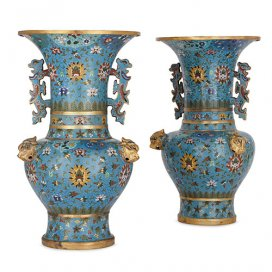 Pair of Chinese Qing dynasty cloisonné enamel vases
