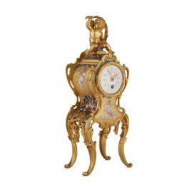 Ormolu and cloisonné enamel antique French table clock