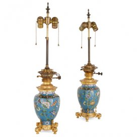 Pair of ormolu mounted Chinese cloisonné enamel lamps