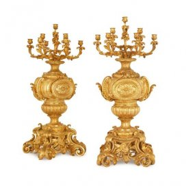 Large pair of Rococo style French antique ormolu candelabra