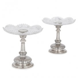 Pair of Russian silver and cut glass tazze