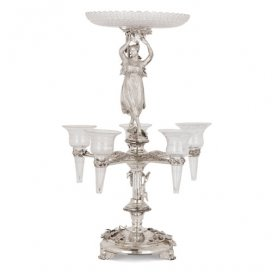 Victorian silver and glass epergne by Stephen Smith & Son