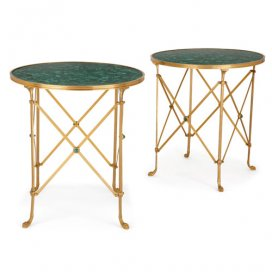 Pair of French ormolu and malachite circular side tables