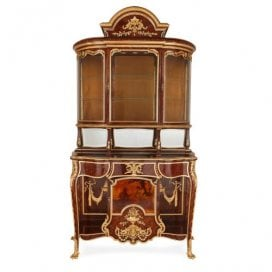 Large antique French ormolu and Vernis Martin vitrine cabinet