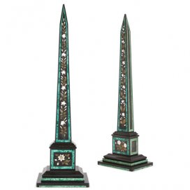 Near pair of Italian marble, pietra dura and malachite obelisks