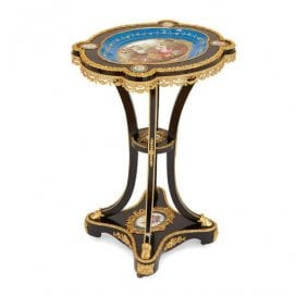 Ormolu mounted Sèvres porcelain and ebonised wood side table