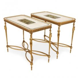 Pair of Neoclassical style ormolu and marble centre tables