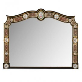 Napoleon III period Boulle inlay and Sevres style porcelain mirror