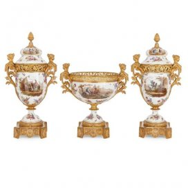 Ormolu mounted Sèvres style porcelain three piece garniture