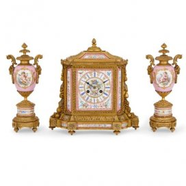 Louis XVI style ormolu and pink Sevres style porcelain clock set