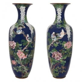 Pair of antique Japanese Meiji period cloisonne enamel vases