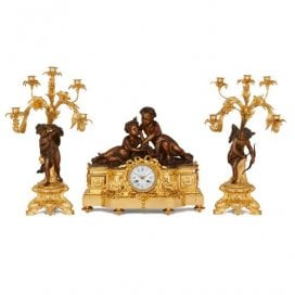 Antique gilt and patinated bronze clock set by Picard