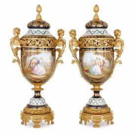 Pair of ormolu and Sevres style porcelain pot-pourri vases