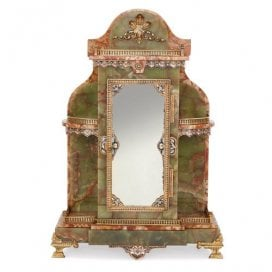 Ormolu, champleve enamel, green onyx and marble table cabinet