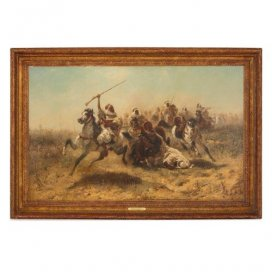 'Arab Cavalry in Retreat', oil painting by Adolf Schreyer