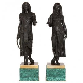 Pair of Egyptian Revival bronze figures on malachite bases