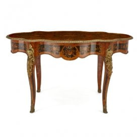 Napoleon III period ormolu mounted marquetry centre table