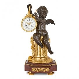 Antique gilt, patinated bronze and marble mantel clock