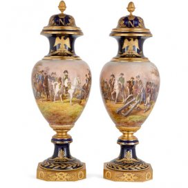 Two large Sèvres style porcelain and ormolu Napoleonic vases