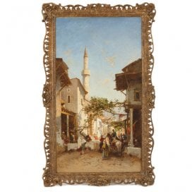 Large Orientalist oil painting of a market scene by Corrodi