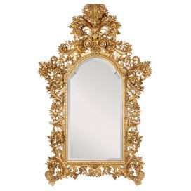 Large Italian Baroque style carved giltwood mirror
