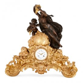 Large gilt and patinated bronze mantel clock by Bazelaire