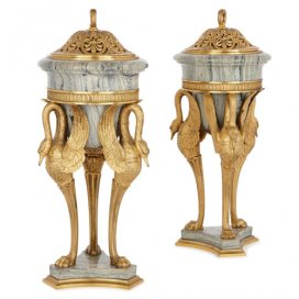 Pair of French antique ormolu and marble pot-pourri vases
