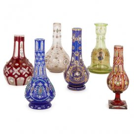 Collection of six antique Bohemian glass huqqa bases