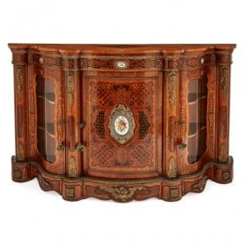 Victorian ormolu and porcelain mounted marquetry cabinet